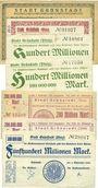 Banknotes Grünstadt. Stadt. Billets. 10, 50, 100 (2 variantes), 200 (2 variantes), 500 millions mark 4.9.1923