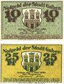 Banknotes Guben (Guben, Brandebourg et Gubin, Pologne). Stadt. Billets. 10 pf, 25 pf 1.5.1920