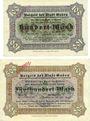 Banknotes Guben (Guben, Brandebourg & Gubin, Pologne). Stadt. Billets 100 mk série L, 500 mk 16.9.1922 série D
