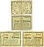 Banknotes Guhrau (Gora, Pologne). Stadt. Billets. 50 pf n.d (1917), 10 pf 8.10.1918; 10, 50 pf 1.7.1919
