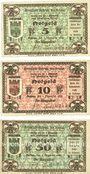 Banknotes Guhrau (Gora, Pologne). Stadt. Série de 3 billets. 5 pf, 10 pf, 50 pf 1.12.1920
