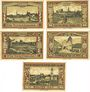 Banknotes Guhrau (Gora, Pologne). Städtische Sparkasse. Série de 5 billets. 25, 50, 75 pf, 1, 2 mark (1922)