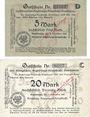 Banknotes Gumbinnen (Gusev, Russie). Königliche Regierungs Hauptkasse. Billets. 5 mark, 20 mark 8.11.1918