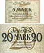 Banknotes Halle a. d. Saale. Stadt. Billets. 5 mark, 20 mark 15.10.1918, annulation par cachet ENTWERTET