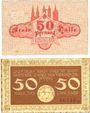 Banknotes Halle a. d. Saale. Stadt. Billets. 50 pf (2 ex) 1.5.1917