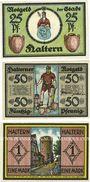 Banknotes Haltern. Stadt. Série de 3 billets. 25 pf, 50 pf, 1 mark 1.6.1921