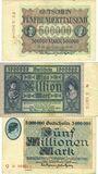 Banknotes Hamborn. August Thyssen-Hütte. Billets. 500000 mk 31.12.1923, 1 et 5 millions mk 1.8.1923