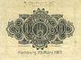 Banknotes Hambourg. Hauptstaatskasse. Billet. 50 pf 20.3.1917, série A