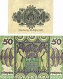Banknotes Hambourg. Hauptstaatskasse. Billets. 50 pf 20.3.1917, série A, 50 pf 1.6.1920, série A