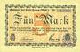 Banknotes Hamm. Stadt. Billet. 5 mark 7.10.1918, annulation au dos par cachet ovale du musée