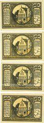 Banknotes Harburg. Kreissparkasse. Série de 4 billets. 50 pf (4ex) 15.9.1921