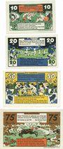 Banknotes Harzburg, Bad. Stadt. Série de 4 billets. 10 pf, 20 pf, 25 pf, 75 pf juillet 1921