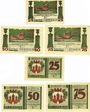 Banknotes Harzgerode. Stadt. Billets. 25, 50, 75 pf 7.7.1921, 2 séries différentes