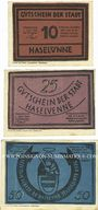 Banknotes Haselünne. Stadt. Billets. 10 pf, 25 pf, 50 pf 1.7.1921