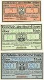 Banknotes Haspe. Stadt. Billets. 5 mark, 10 mark, 20 mark 1.12.1918