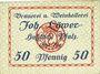 Banknotes Hassloch. Löwer Joh.. Brauerei und Weinkellerei. Billet. 50 pf, signature manuscrite au revers