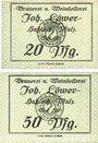 Banknotes Hassloch. Löwer Joh.. Brauerei und Weinkellerei. Billets. 20 pf, 50 pf, sans signature