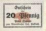 Banknotes Hassloch. Stamer Peter, zum Wittelsbacher Hof. Billet. 20 pf, sans signature manuscrite au dos