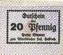 Banknotes Hassloch. Stamer Peter, zum Wittelsbacher Hof. Billet. 20 pf, signature manuscrite au do