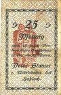 Banknotes Hassloch. Stamer Peter, zum Wittelsbacher Hof. Billet. 25 pf, signature manuscrite au dos