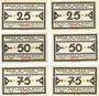 Banknotes Heede. Gemeinde. Série de 6 billets. 25 pf (2ex), 50 pf (2ex), 75 pf (2ex) (1921)