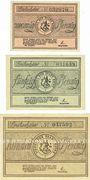 Banknotes Heide. Stadt. Série de 3 billets. 20 pf, 50 pf, 1 mark (1921)