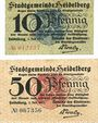 Banknotes Heidelberg. Stadt. Billets. 10 pf, 50 pf 1.7.1917