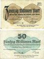 Banknotes Heidelberg. Stadt. Billets. 20 millions mark, 50 millions mark 24.9.1923