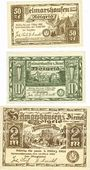 Banknotes Helmarshausen. Stadt. Billets. 50 pf, 1 mark, 2 mark 15.5.1921