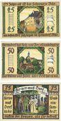 Banknotes Hermsdorf. Gemeinde. Billets. 25 pf, 50 pf, 75 pf 1.5.1921