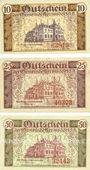 Banknotes Hermsdorf. Gemeinde. Série de 3 billets. 10 pf, 25 pf, 50 pf 4.4.1919