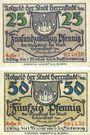 Banknotes Herrnstadt (Wasosz, Pologne). Stadt. Série de 2 billets. 25 pf, 50 pf (1920)