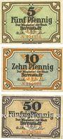 Banknotes Herrnstadt (Wasosz, Pologne). Stadt. Série de 3 billets. 5 pf, 10 pf, 50 pf n.d. - 31.12.1919