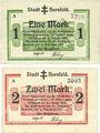 Banknotes Hersfeld. Stadt. Billets. 1 mark, 2 mark 4.11.1918