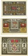 Banknotes Herstelle. Gemeinde. Série de 3 billets. 50 pf, 1 mark, 2 mark 1.11.1921 (1922)