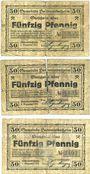 Banknotes Hettenleidelheim. Gemeinde. Billets. 50 pfennig (3ex) 9.12.1918