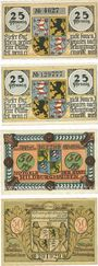 Banknotes Hildburghausen. Stadt. 2 séries de 2 billets. 25 pf (1921) (2ex), 50 pf 1921 (2ex)