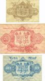 Banknotes Hof, Stadt, billets, 5 mark, 20 mark 8.10.1918, 10 mark série (Reihe) C 9.10.1918