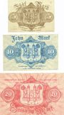 Banknotes Hof. Stadt. Billets. 5 mk série (Reihe) B, 10 mk série (Reihe) D, 20 mk série (Reihe) B 9.11.1918