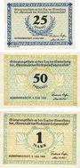 Banknotes Hohenwestedt. Gemeinde. Série de 3 billets. 25 pf, 50 pf, 1 mark 3.7.1921