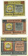 Banknotes Horneburg. Fleckenssparkasse. Série de 3 billets. 25 pf, 50 pf, 75 pf 1.5.1921
