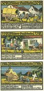 Banknotes Hüls bei Krefeld. Gemeinde. Série de 3 billets. 50 pf, 75 pf, 1 mark 1.11.1921