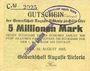 Banknotes Hüls. Gewerkschaft Auguste Victoria. Billet. 5 millions mark 10.8.1923