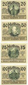 Banknotes Husum. Vorstand der Kleinsiedlung. Série de 4 billets. 25 pf, 50 pf, 75 pf, 100 pf 15.9.1921