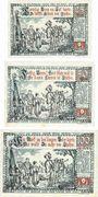 Banknotes Itzehoe. Stadt. Série de 3 billets. 25 pf,  50 pf, 1 mark  2.8.1920