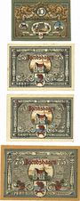 Banknotes Jacobshagen (Dobrzany, Pologne). Stadt. Série de 4 billets. 10 pf, 25 pf, 50 pf, 75 pf 1920