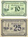 Banknotes Jena. Stadt. Billets. 10 pf, 25 pf 1.8.1920
