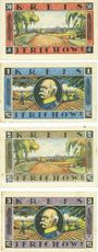 Banknotes Jerichow. Kreis. Série de 4 billets. 50 pf, 1 mark, 2 mark, 3 mark 1.7.1921 - 1.10.1922
