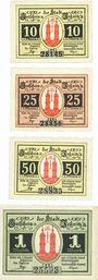 Banknotes Jessnitz. Stadt. Série de 4 billets. 10 pf, 25 pf, 50 pf, 1 mark 1921