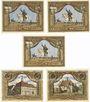 Banknotes Jessnitz. Stadt. Série de 5 billets. 25 pf (3ex), 50 pf (2ex) 1921